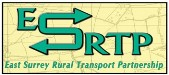 The East Surrey Rural Transport Partnership logo: the letters ESRTP in green over a map